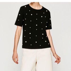Zara pearl knit top